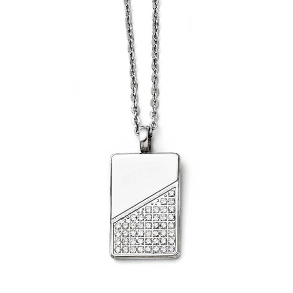 Chisel Stainless Steel Dogtag with CZ Necklace (2 mm) - 20 in