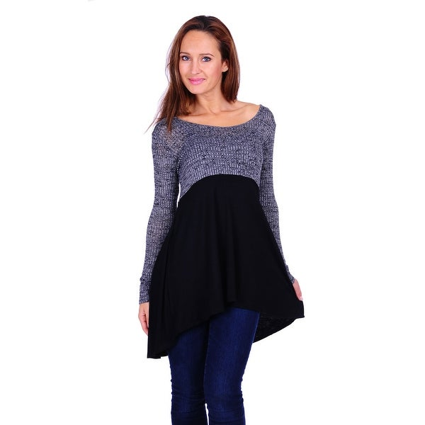 Simply Ravishing Women's Hi-Low color Block Long Sleeve Ribbed Tunic Top