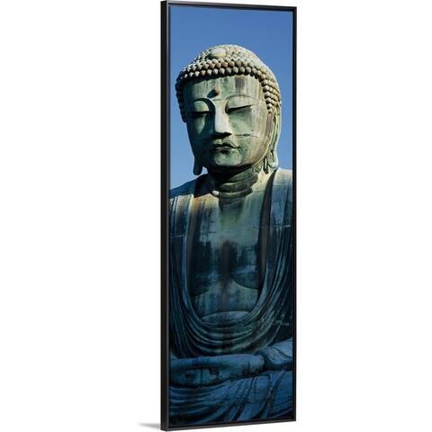 """Big Buddha Daibutsu Kamakura Japan"" Black Float Frame Canvas Art"
