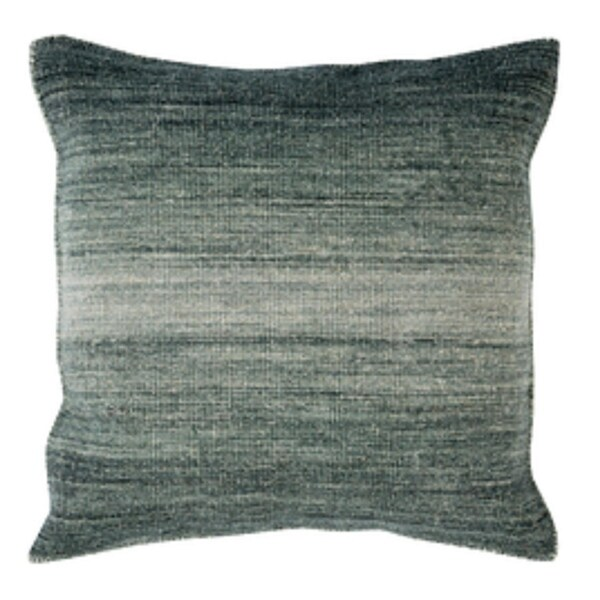"""18"""" Ombre Ambiance Black-Gray, Softened Green and Silver Sand Decorative Throw Pillow - Down Filler"""