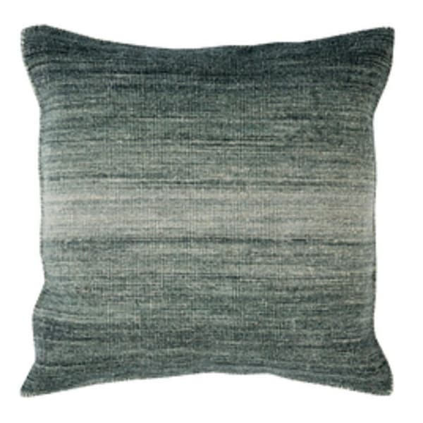 """22"""" Ombre Ambiance Black-Gray, Softened Green and Silver Sand Decorative Throw Pillow - Down Filler"""