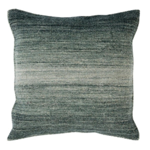 """22"""" Ombre Ambiance Black-Gray, Softened Green and Silver Sand Decorative Throw Pillow"""