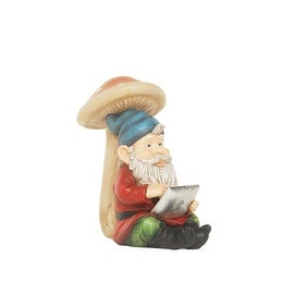 "10"" High Tech Gnome with Tablet Solar Powered LED Lighted Outdoor Patio Garden Statue"