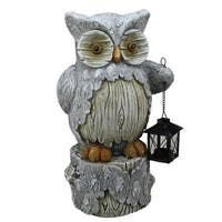 "17"" Country Rustic Owl with Lantern on a Tree Stump Christmas Table Top Decoration"