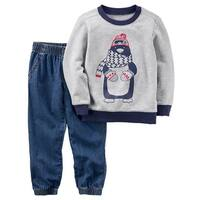 Carter's Baby Boys' 2-Piece Penguin Pullover & Denim Jogger Set, 6 Months - Blue/Gray