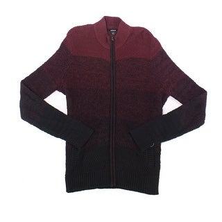 Alfani Deep Port Red Mens Size 2XL Ombre Knit Full Zip Sweater