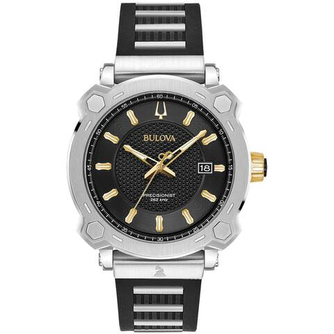 Bulova Men's 98B319 Precisionist Two-Tone Black Silicone with Stainless Strap Watch