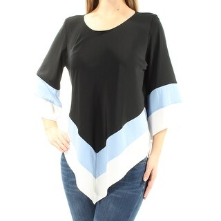 ALFANI $70 Womens 1517 Black Color Block Asymmetrical Hem 3/4 Sleeve Top 14 B+B