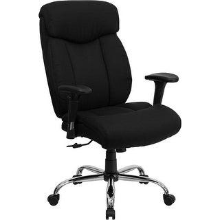 Aberdeen Big & Tall Black Fabric Upholstery Executive Swivel Chair w/Adj Arms