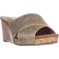 SC35 Jillee Slide Wedge Sandals, Ligh Gold