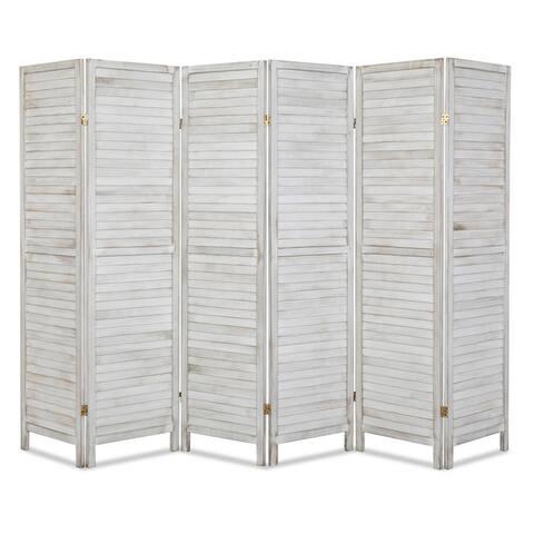 5.9ft Tall 6-Panel Folding Freestanding Wood Blind Style Room Divider