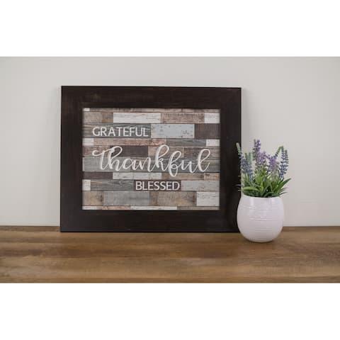 "Grateful Thankful Blessed Framed Art Decor Sign Blocking 16x20"""
