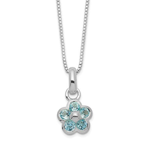 Sterling Silver Blue Topaz Flower Pendant with 16-inch Chain by Versil