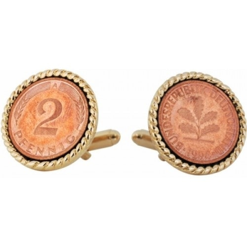 German 2 Pfennig Coin Collector Cufflinks