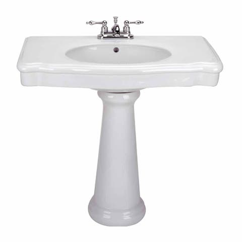 White China Darbyshire Pedestal Sink Centerset Faucet Holes with Overflow