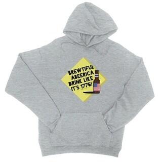 Brewtiful Abeerica Unisex Pullover Hoodie Grey Hooded Sweatshirt