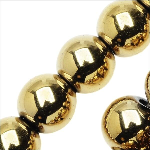 Hematite Gemstone Beads, 8mm Round, 16 Inch Strand, Metallic Gold