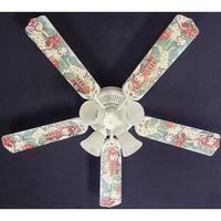 Dalmatian Puppies Fire truck Print Blades 52in Ceiling Fan Light Kit - Multi