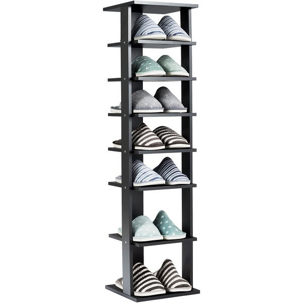 Gymax 7-Tier Shoe Rack Practical Free Standing Shelves Storage Shelves Concise Style