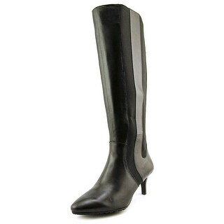 Tahari NEW Black Shoes Size 5.5W Knee-High Faux-Leather Boots
