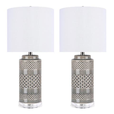 "21"" Ceramic Table Lamp w/ Cylindrical Base & Linen Shade (Set of 2)"