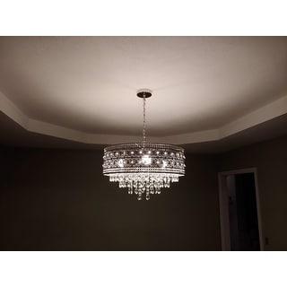 "Silver Orchid Swanson Polished Nickel/Crystal 3-light Chandelier - 23.625""L x 23.625""W x 15""H"