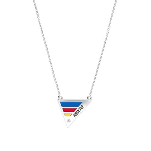 NASCAR Race Stripe Diamond Geometric Enamel Pendant Necklace In Sterling Silver