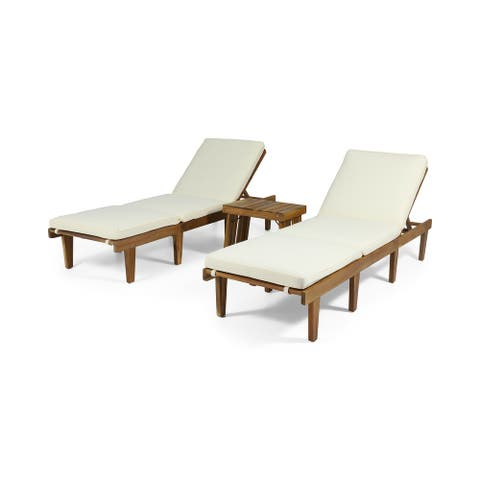 Ariana Outdoor Acacia Wood 3 Piece Chaise Lounge Set with Water-Resistant Cushions by Christopher Knight Home