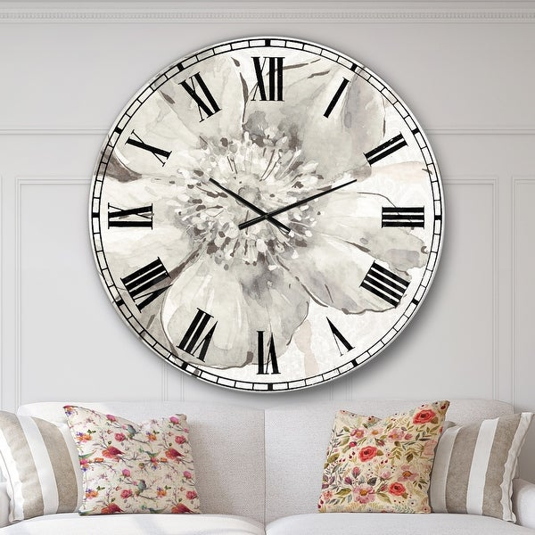 Designart 'Indigold Grey Peonies III' Farmhouse Large Wall CLock. Opens flyout.