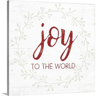 """Joy to the World - Red"" Canvas Wall Art"