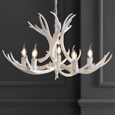 """Eldora 30"""" Resin Antler 5-Light LED Chandelier, White by JONATHAN Y"""
