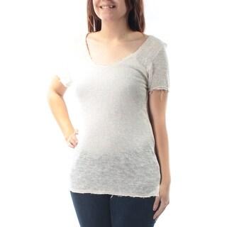 Womens Ivory Short Sleeve Jewel Neck Sweater Size S