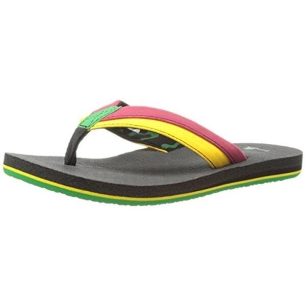 Sanuk Boys Rootbeer Cozy Light Flip Flops Colorblock Lightweight - 3-4