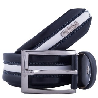 Romeo Gigli K060/35 BLU Navy Blue/White Leather Adjustable Belt
