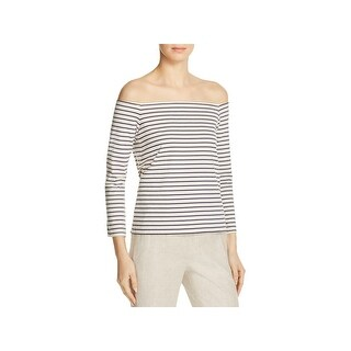 Theory Womens Aprine K Pullover Top Striped Off-The-Shoulder