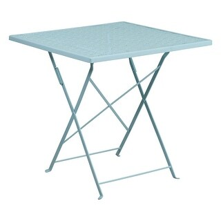 Offex 28'' Square Sky Blue Indoor-Outdoor Steel Folding Patio Table