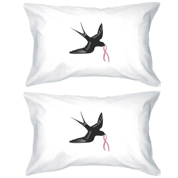 Swallows Bird Pink Ribbon Pillowcase Cancer Awareness Pillow Cover