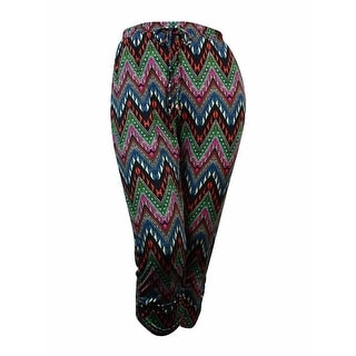 NY Collection Women's Printed Ruched Hem Pants