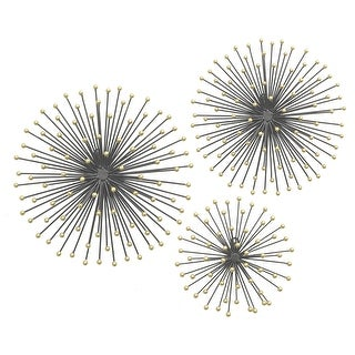 Three Hands Metal Starburst S/3 - Black And Gold