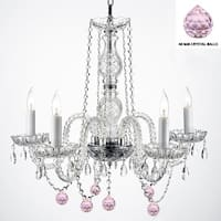 Authentic Empress Crystal(TM) Chandelier Lighting With Pink Crystal Balls