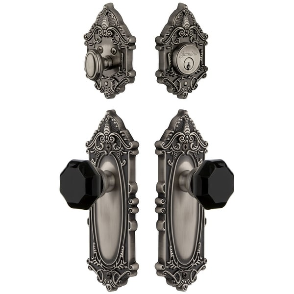 Grandeur GVCLYO_SP_ESET_238 Grande Victorian Solid Brass Rose Single Cylinder Keyed Entry Deadbolt and Knobset Combo Pack with
