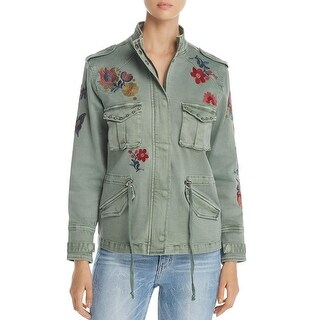 Billy T Womens Denim Jacket Studded Drawstring Waist