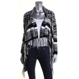 Hooked Up Womens Juniors Cardigan Sweater Fringe Pattern