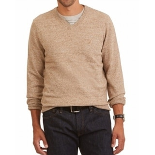 Nautica NEW Wood Drift Beige Mens Size 2XL Pullover V-Neck Sweater