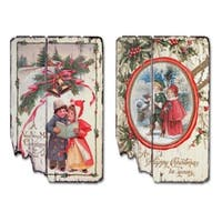 """Set of 4 Red and Green Christmas Greetings Wall Plaques 24"""""""