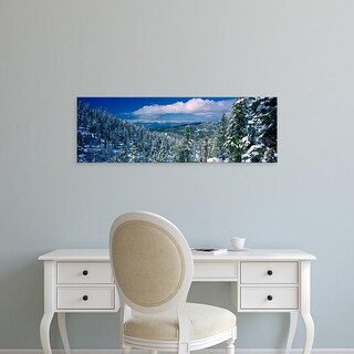 Easy Art Prints Panoramic Images's 'Snow covered pine trees in a forest with lake, Lake Tahoe, California' Canvas Art