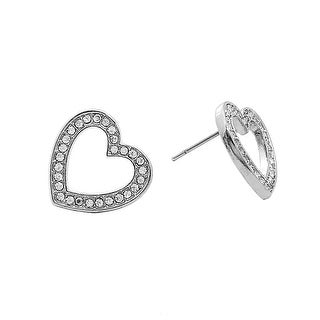 Rhodium Heart Stud Earrings for Valentine's Day