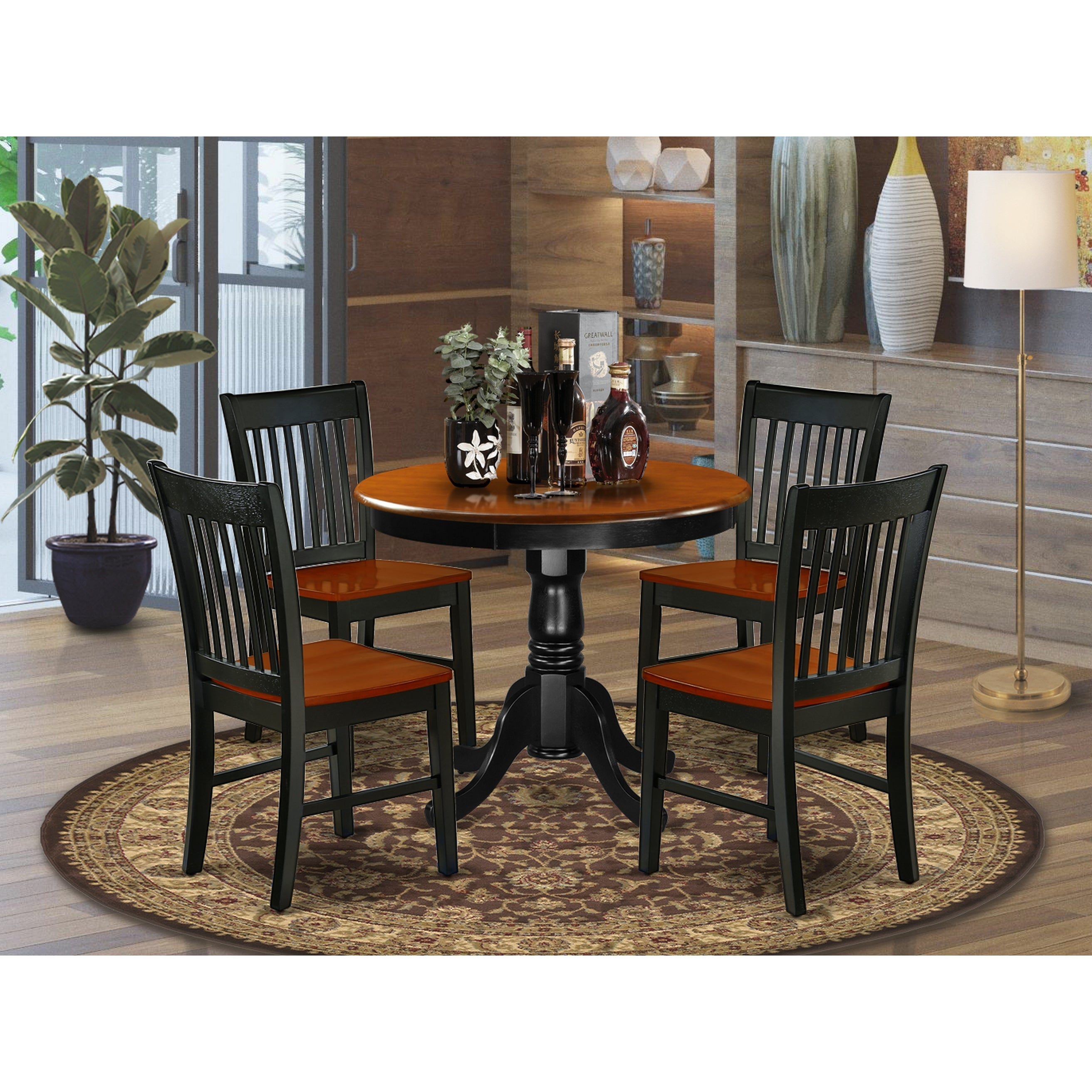 Picture of: Round 36 Inch Table And Wood Seat Chairs Kitchen Set In Black And Cherry Finish Number Of Chairs Option Overstock 28712098