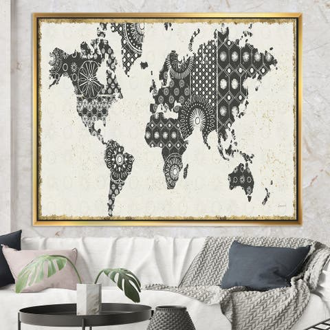 Designart 'Madallions Map' Traditional Framed Canvas - Black