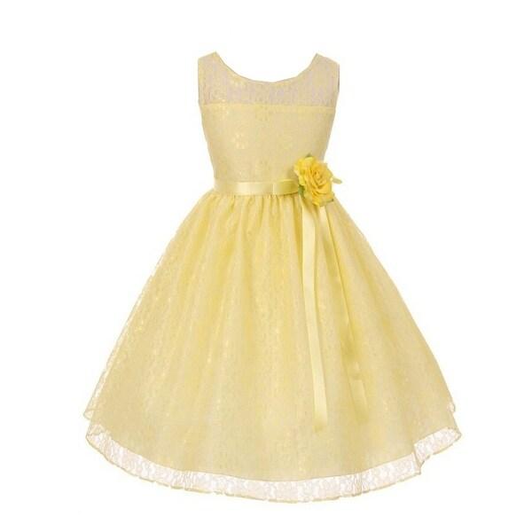 f225425e0e Little Girls Yellow Oval Shaped Open Back Lace Flower Girl Dress 4